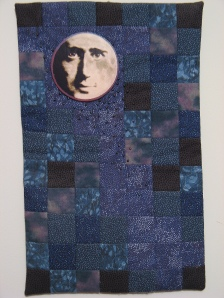 man in the moon art quilt