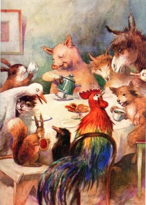 Animals having a tea party