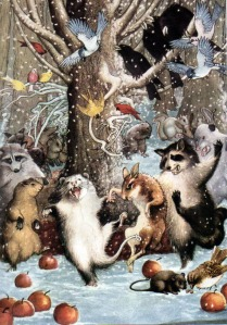 Animals dancing in a winter scene