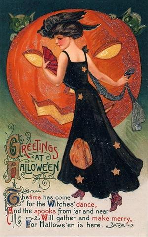 halloween-vintage-postcard-woman-w-goblins